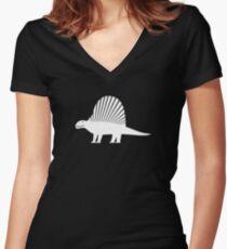 Minimalistic Dimetrodon Women's Fitted V-Neck T-Shirt