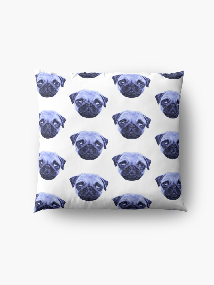 Vista alternativa de Cojines de suelo Pug Pop Art Blue Dog lunes