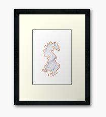 Rabbit Marble Silhouette Framed Print