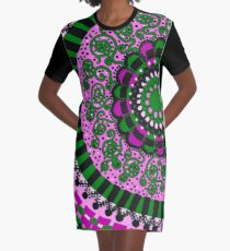 Pink and Green Mandala Graphic T-Shirt Dress