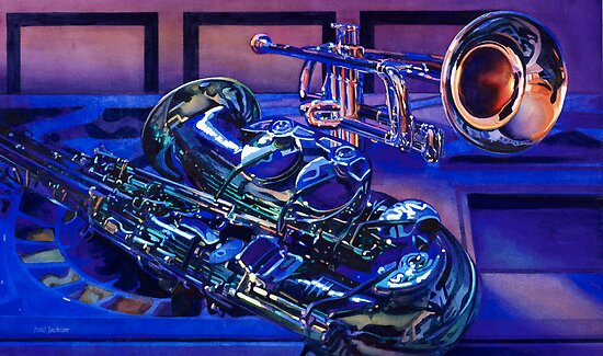 """Jazz In Blues"" Watercolor by Paul Jackson"