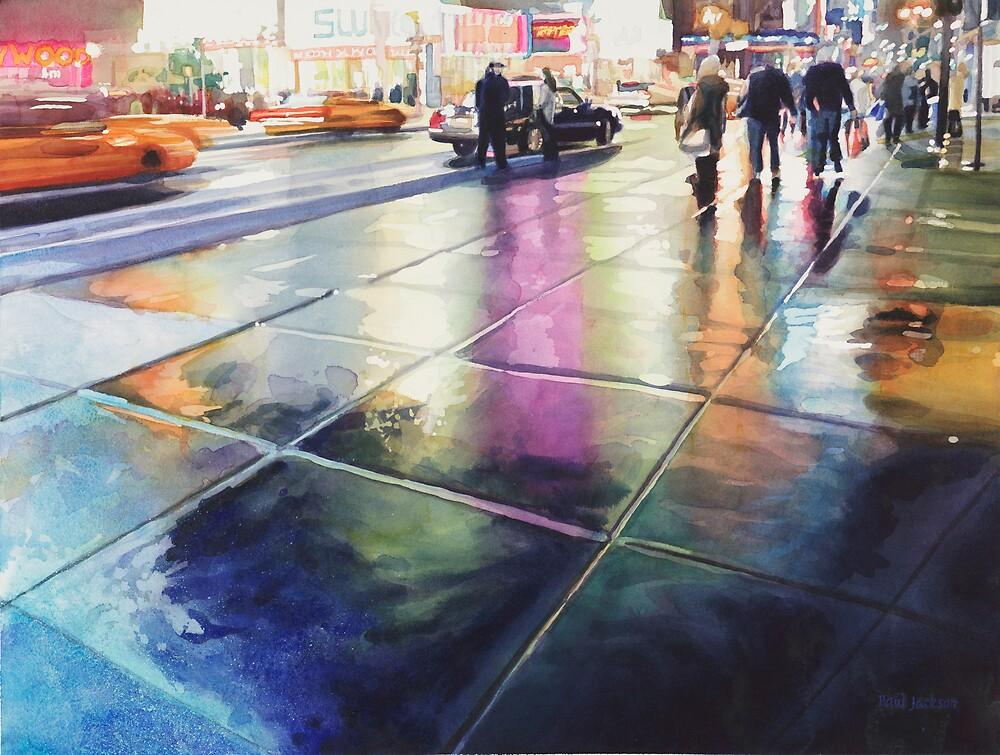 """Neon Rain"" New York Watercolor by Paul Jackson"