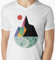 Camiseta para hombre de cuello en v Lado positivo