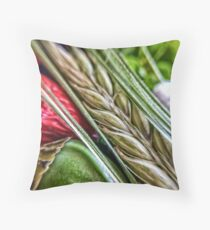 Spike Barley and Poppy Closeup Throw Pillow