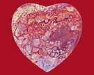 Heart shaped Fluid Abstract Painting by Maria Meester