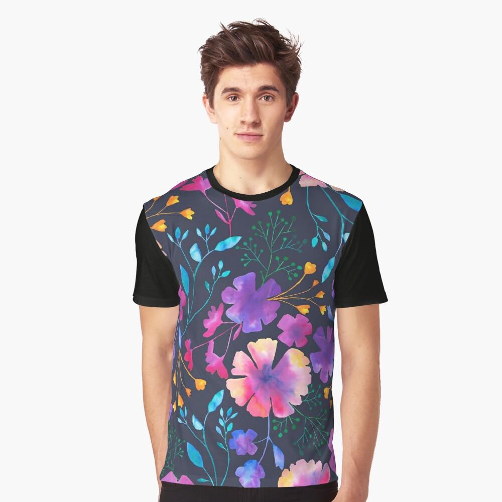 Fluro Floral Watercolour Flower Pattern Graphic T-Shirt