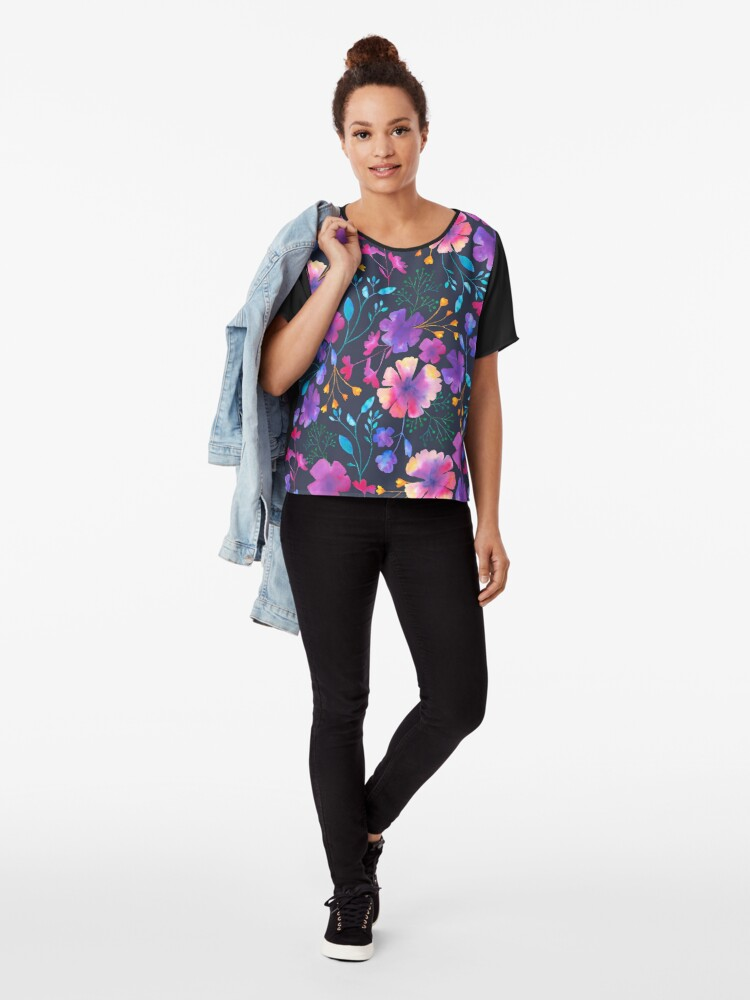 Alternate view of Fluro Floral Watercolour Flower Pattern Chiffon Top
