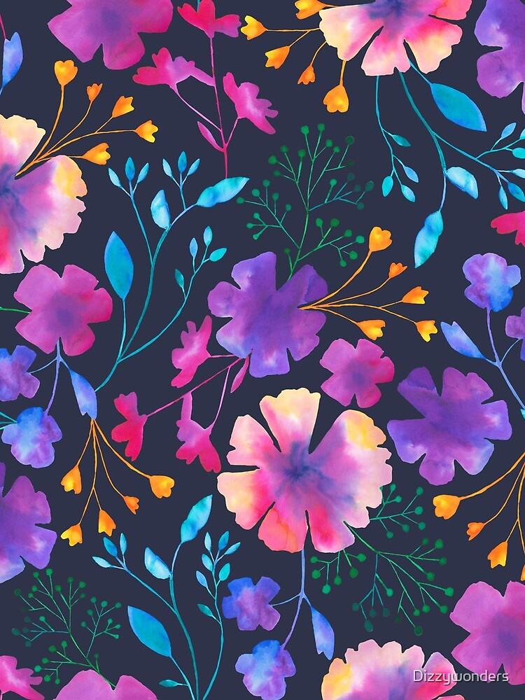 Fluro Floral Watercolour Flower Pattern by Dizzywonders