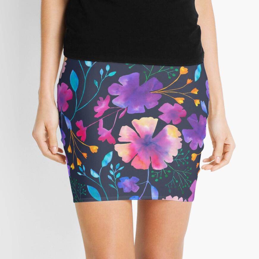 Fluro Floral Watercolour Flower Pattern Mini Skirt