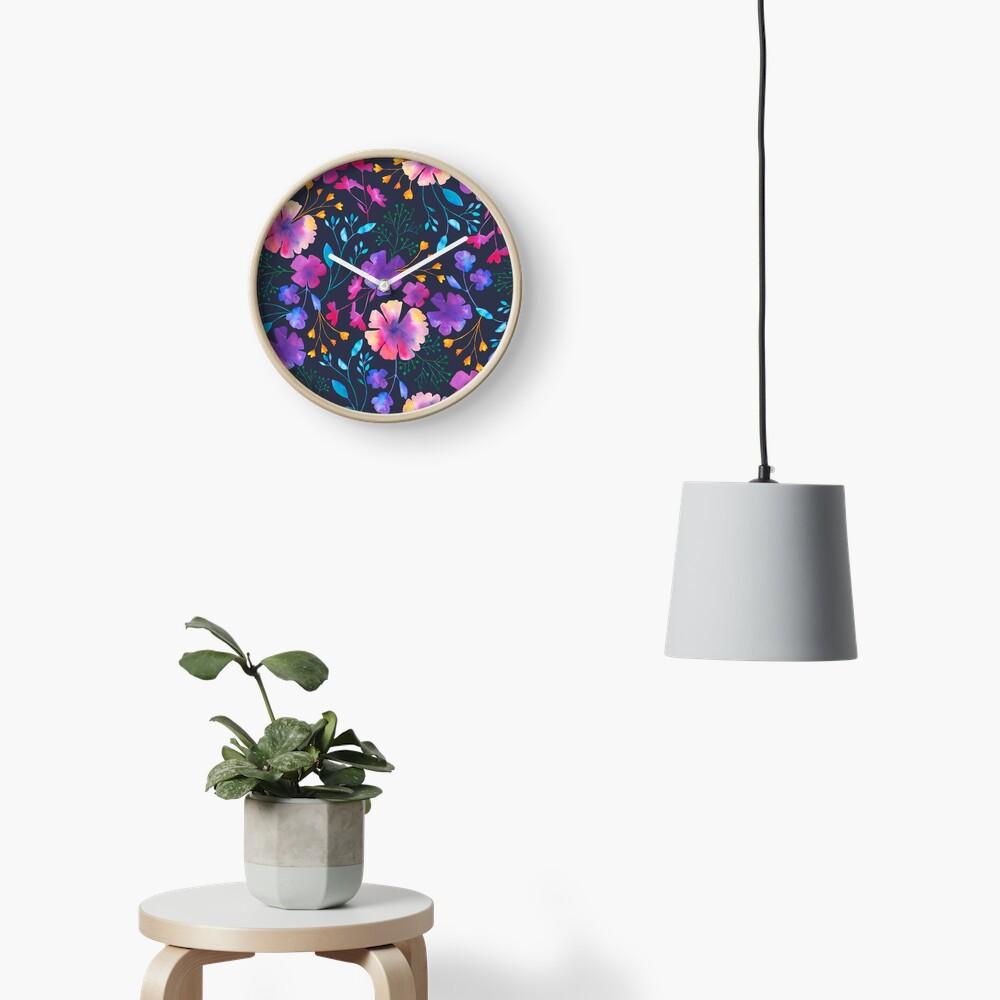 Fluro Floral Watercolour Flower Pattern Clock