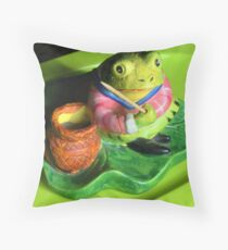 Fishing Froggie Throw Pillow