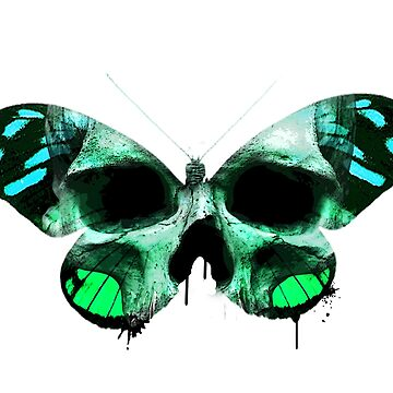 Blue and green skull butterfly. by diana2266