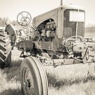 Vintage Tractor Sepia Toned by Edward Fielding