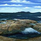 View of Pic Island on Lake Superior from the Whale Back rocks by loralea