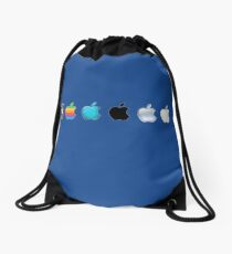 Apple Logo Evolution History Drawstring Bag