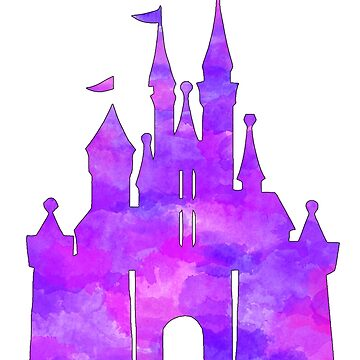 Watercolour pink and purple castle by beccacook1