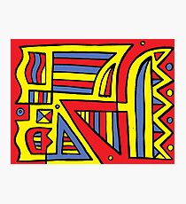 Rayne Abstract Expression Yellow Red Blue Photographic Print