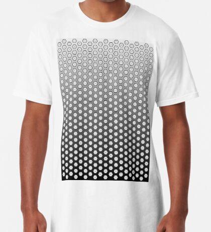 Hexagonal Turtle Pattern Black & White 002 Long T-Shirt