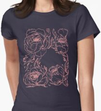 Peony botanical illustration Women's Fitted T-Shirt