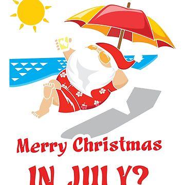 Merry Christmas in July Santa Sunbathing Shopping by ColeLaniTrading