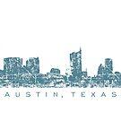 Austin, Texas Skyline Vintage Blue by theshirtshops