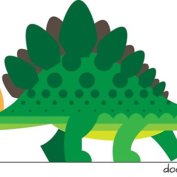 Doodlesaurus - cute dinosaur, a stegasaurus with places to be! by MoragHickman