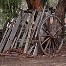 Wagon Wheel and Cart Circa 1850's by Ronald Rockman