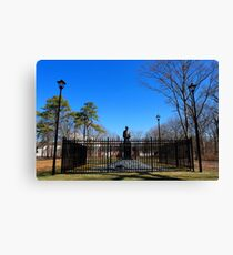 Statue Of Nikola Tesla In Front Of Wardenclyffe Laboratory Building | Shoreham, New York Canvas Print