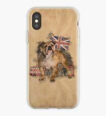 English Bulldog and England sketch iPhone Case
