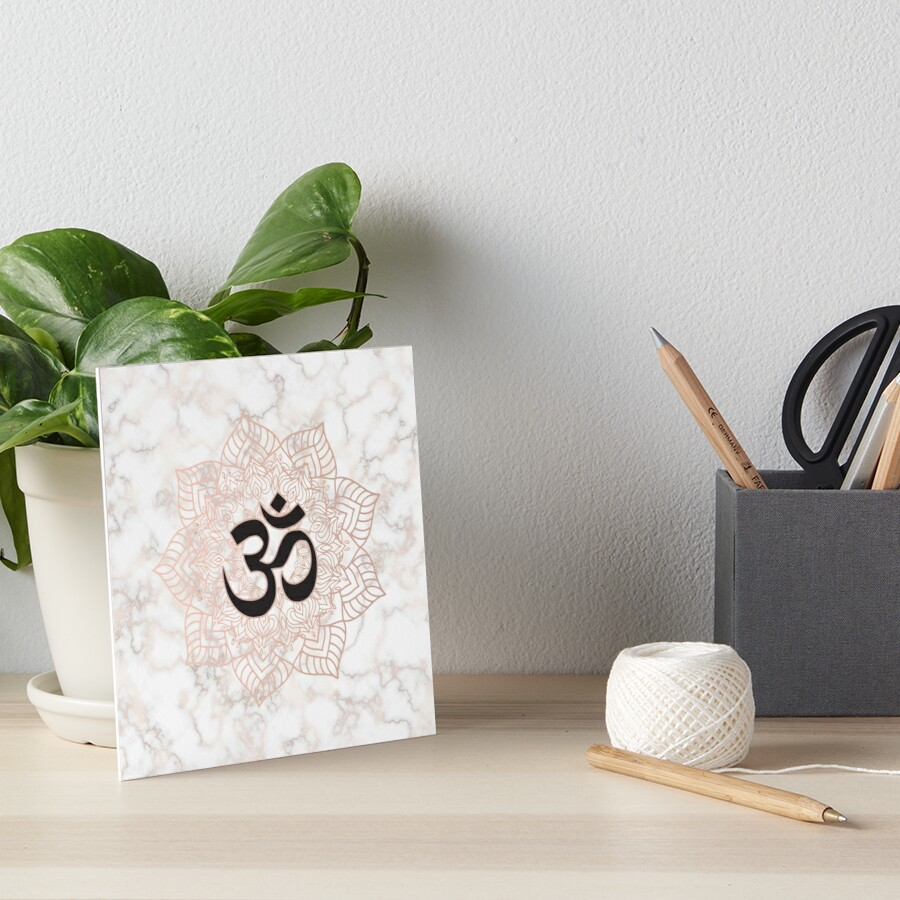 Om symbol yoga lotus flower rose gold and marble art boards by om symbol yoga lotus flower rose gold and marble by quaintrelle izmirmasajfo
