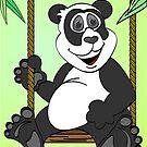 Green Panda Bear Cartoon Swing by Graphxpro
