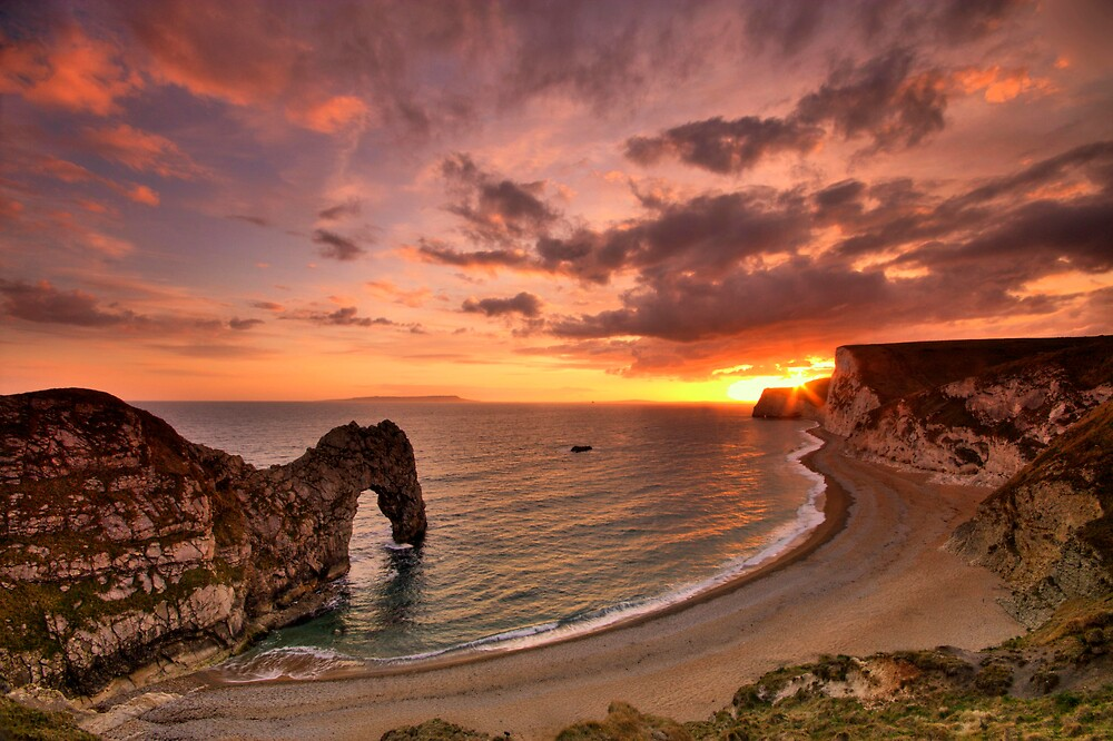 Durdle Sunset - HDR - Jurassic Coast World Heritage Site Series by LeeMartinImages