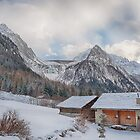 Farmhouses, Glacier, Mountains And Clouds by Susan Dost