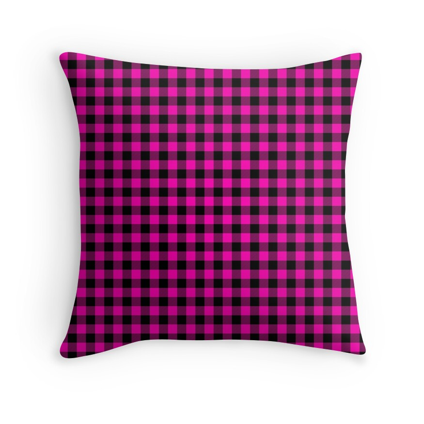 Bright Hot Neon Pink and Black Gingham Check