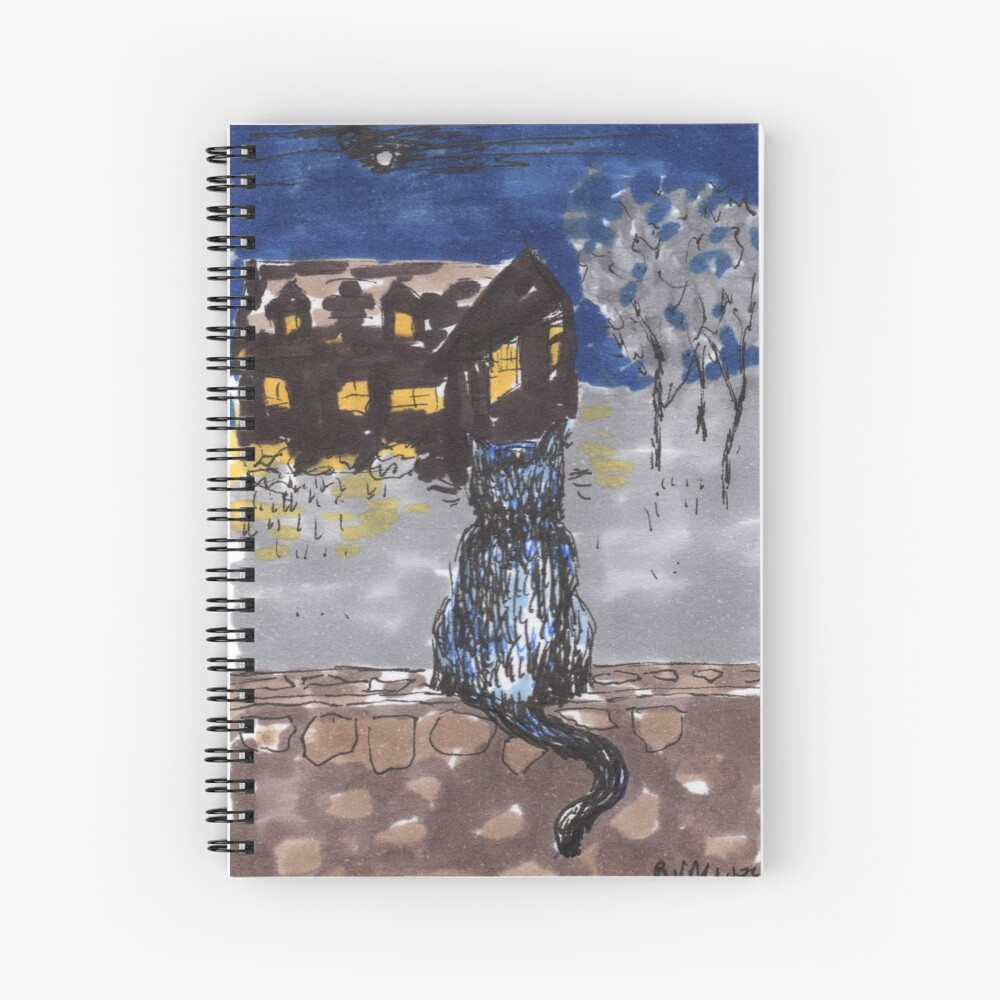 Night cat Spiral Notebook