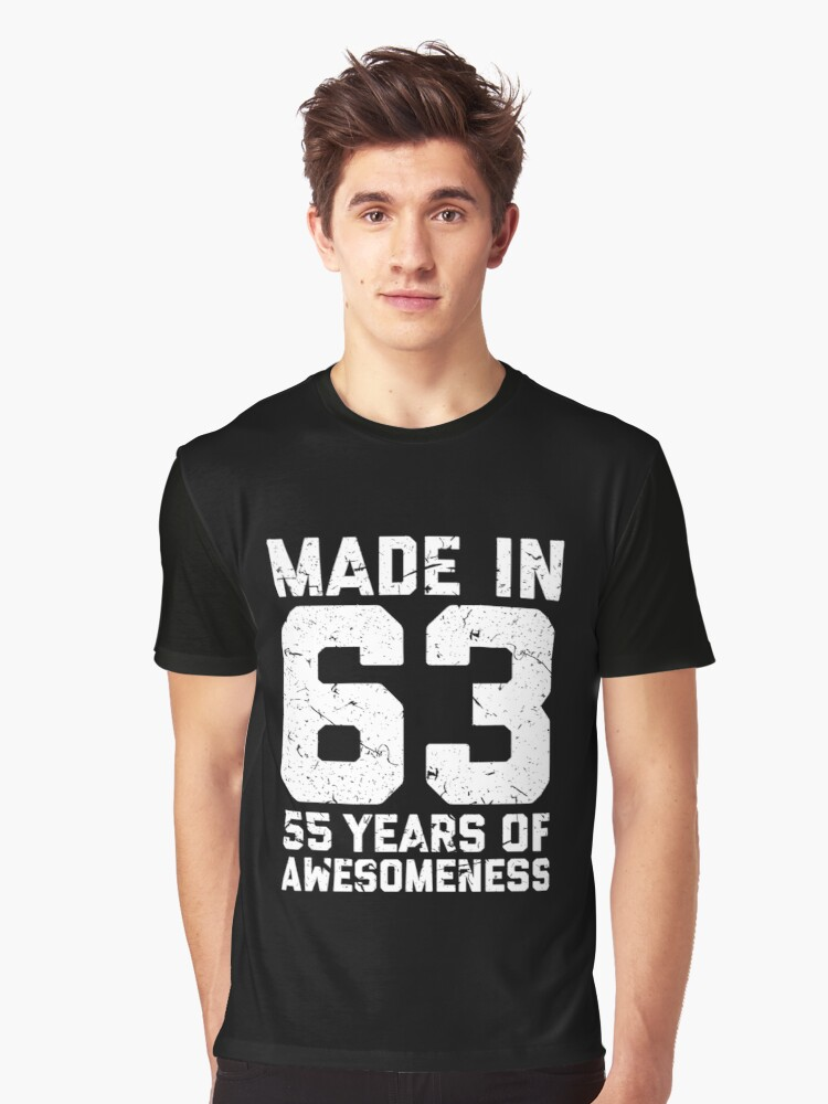 55th Birthday Gift Adult Age 55 Year Old Men Women Graphic T Shirt Front