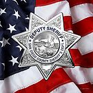 San Diego County Sheriff's Department - SDSO Deputy Sheriff Badge Badge over American Flag by Serge Averbukh