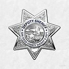 San Diego County Sheriff's Department - SDSO Deputy Sheriff Badge over White Leather by Serge Averbukh