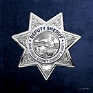 San Diego County Sheriff's Department - SDSO Deputy Sheriff Badge over Blue Velvet by Serge Averbukh
