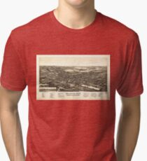 Aerial View of Bellevue Ohio Sandusky & Huron counties (1888) Tri-blend T-Shirt