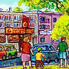 MONTREAL PAINTINGS SUMMER CITY SCENES FOR SALE FAMILY STROLL C SPANDAU CANADIAN ARTIST by Carole  Spandau