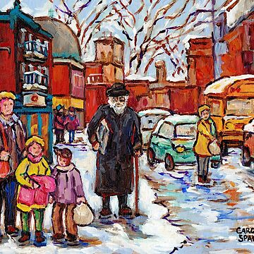MONTREAL PAINTINGS RUE ST VIATEUR WINTER SCENES PAINTINGS FOR SALE RABBI WITH TORAH  by CaroleSpandau