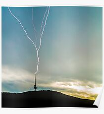 Lightning Strikes Tower During Storm Poster
