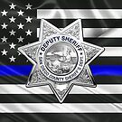 San Diego County Sheriff's Department - SDSO Deputy Sheriff Badge over The Thin Blue Line Flag by Serge Averbukh