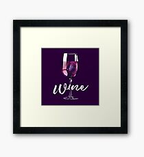 Wine Lover Galaxy Space Design Framed Print