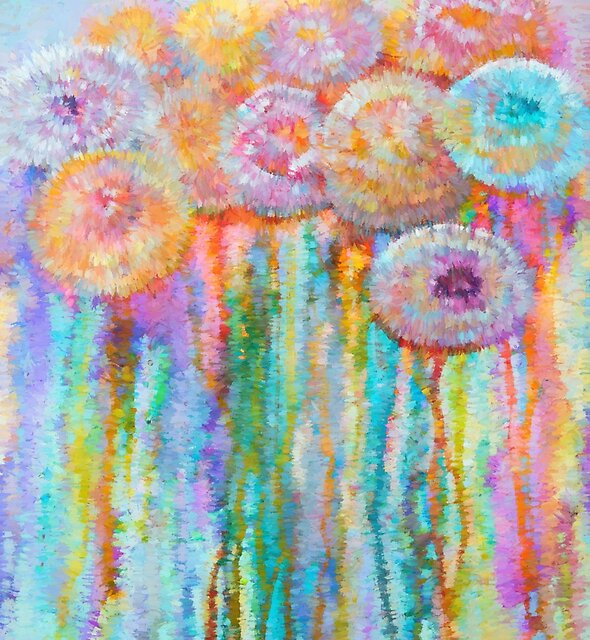 Colorful Flowers Abstract   by LENA OWENS @OLena Art