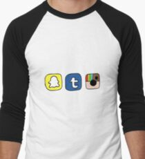 tumblr instagram snapchat apps Men's Baseball ¾ T-Shirt