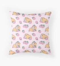 Pink Guinea Pig and Strawberry Pattern  Throw Pillow