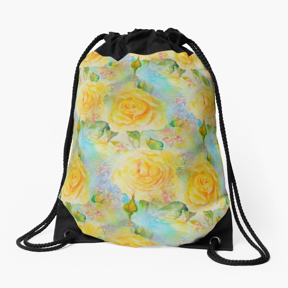 Happy roses Drawstring Bag Front