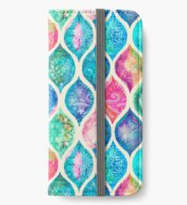 Watercolor Ogee Patchwork Pattern iPhone Wallet/Case/Skin